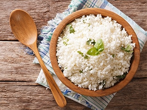 Cauliflower rice for the PKU diet