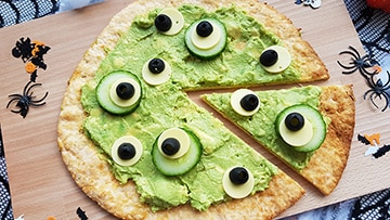 low protein halloween pizza